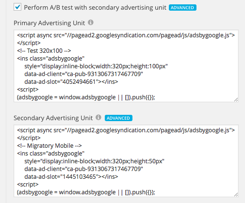 A/B Testing in Multi-Ads Extension